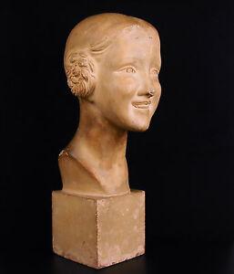 Raphael Charles Peyre Scultura Art Déco Girl 1930 Giovane Ragazza Sorridente H