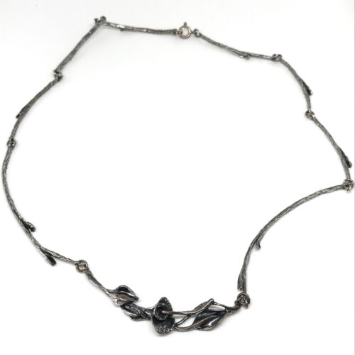 #-0246 Sterling Silver three tone floral necklace w CZs