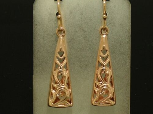 Exquisite Genuine 9ct SOLID Rose Gold Filigree DROP Earrings Dangles Details about  /E045