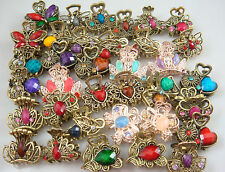 Wholesale 5pcs Crystal Bronze Metal Alloy Hair Clamp Claw Clips Hairpins A2s