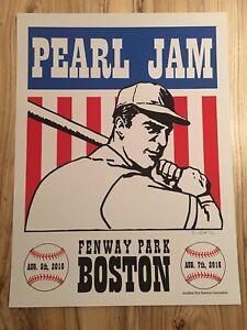 2016-ARTST-SIGNED-Pearl-Jam-Fenway-Park-Concert-Poster-Shuss-S-N-Print-Boston