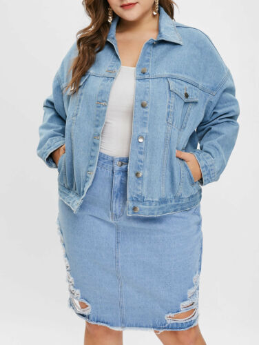 Womens/' Plus Size Button Fly Denim Jacket Long Sleeve Turn-Down Collar Jean Coat