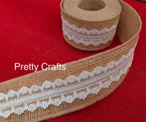 Natural Jute Burlap Hessian Ribbon Lace Tape Rustic Wedding Floristry Made in UK
