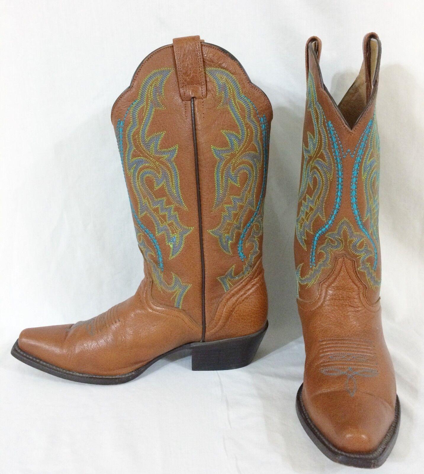 Mujer 7B J. J. J. B. Dillon Oeste De Piel De Cabra Bordado botas caramelo turquesa  respuestas rápidas