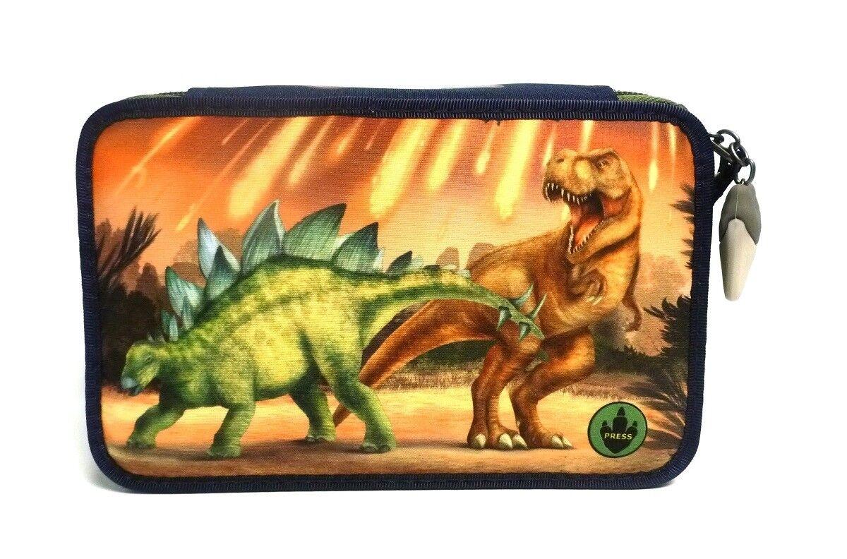 Depesche 10011 A Dino World Federtasche LED 3 fach Schulmäppchen gefüllt Dinosau   Genialität    Export    Viele Sorten