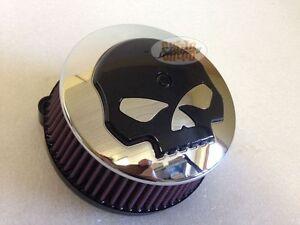Skull-Luftfilter-Cover-fuer-Big-Sucker-fuer-Harley-Skull-schwarz-auf-Chrom