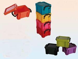 5x kunststoffbox stapelbar box mit deckel verschlie bar. Black Bedroom Furniture Sets. Home Design Ideas