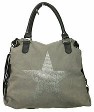 STERN STRASS STEINEN TASCHE STAR CANVAS FASHION SHOPPER HENKEL STOFF PU LEDER