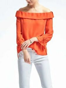 2169725a130 nwt banana republic easy care crepe large L red off shoulder top ...