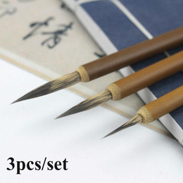 3pcs Weasel Hair Pen Hook Line Paint Chinese Calligraphy Portable Brush Pen