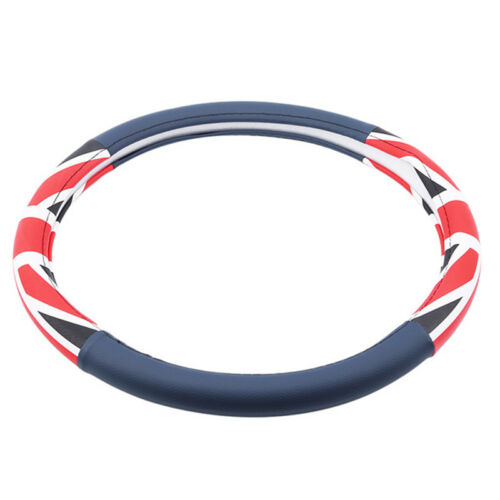 Car Truck Steering Wheel Cover Blue PU Auto Car Cool Universal Fit Size LD