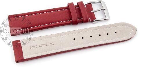 Bracelet Montre Boucle de Pin en Cuir Rouge Couture Blanche 18 20 22 24 26 28mm
