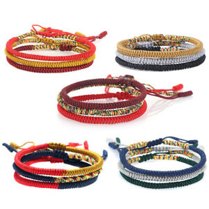 Tibetan-Buddhist-Handmade-Bracelet-Lucky-Knot-Multi-Color-Red-String-Rope-Knots
