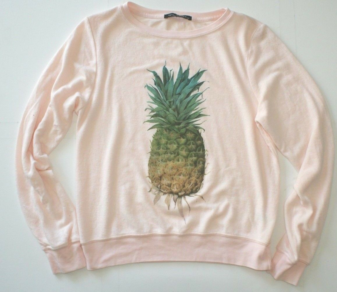 Wildfox Wmn Pineapple Baggy Beach Jumper BBJ Sweater Shirt Host Pick Rosa XS NEW