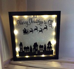 Merry Christmas To All Light Up Shadow Box Frame Ebay