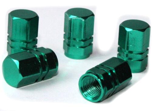 5x Bouchons de valve vert rectangulaire alu Vanne Capuchon 5 pièces vélo moto voiture Green