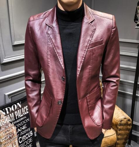 M-4XL Plus Size Mens Slim Fit Leather Blazer Jacket Motor Biker Winter Coat Punk
