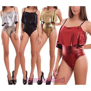 Mujer-cuerpo-brillante-volantes-elastico-lentejuelas-sueter-fiesta-sexy-CJ-2409