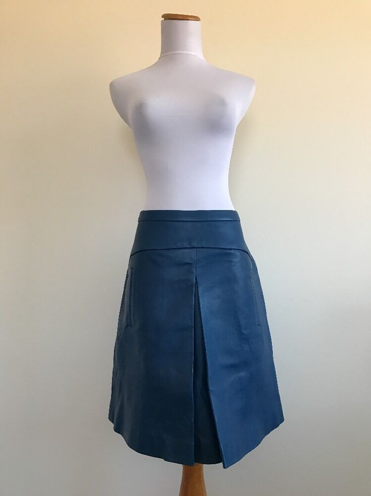 750 NWT Jcrew Collection Womens 2 Box Pleat Leather Skirt bluee C1046 SEE NOTES