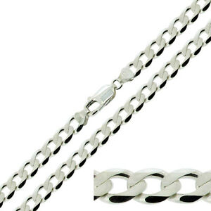 Sterling-Silver-Mens-Flat-Curb-Link-6-8mm-Chain-Necklace-20-22-24-034-inch
