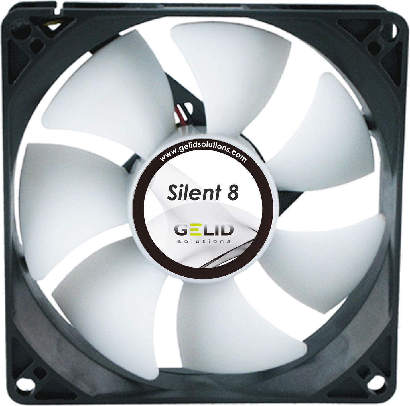 2 x Pack of Gelid Solutions Silent 8, Quiet Case Fan, 8cm, 80mm, 1600rpm