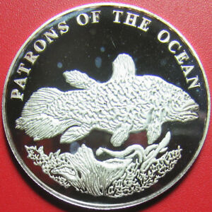 2001-ZAMBIA-4000-KWACHA-SILVER-PROOF-COELACANTH-FISH-PATRONS-OF-THE-OCEAN-RARE