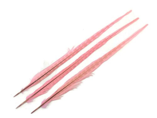 """10 Feathe 20-22/"""" Light Pink Bleached /& Dyed Long Ringneck Pheasant Tail Craft"""