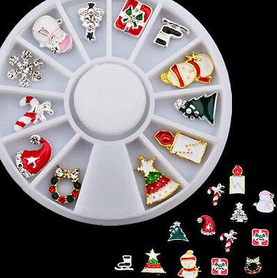 12 pcs 3D Christmas Holiday Alloy Jewelry Nail Art Decoration Crystal Rhinestone