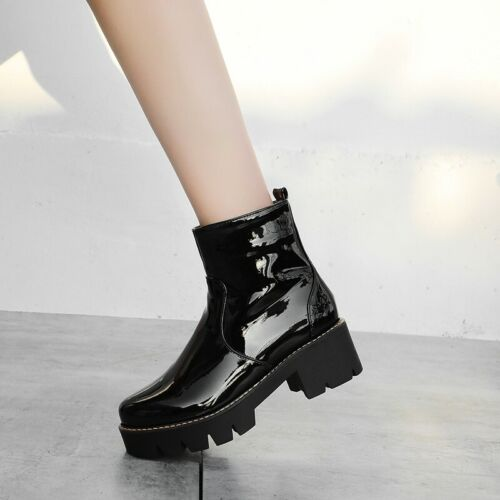 Women Ankle Boots Chelsea Punk Side Zip Motor Non-Slip Chunky Heel Combat Shoes