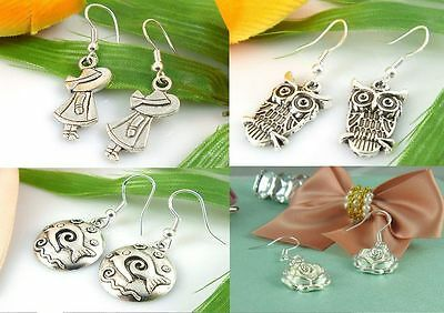 Wholesale New Lady 4 Pair/lot Charm Fashion Jewelry Silver Mix Stud Earrings