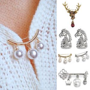 Fashion-Wedding-Bridal-Crystal-Pearl-Flower-Animal-Elk-Brooch-Pin-Cardigan-Clip