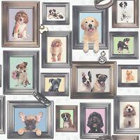 NEW RASCH PUPPY LOVE DOGS IN FRAMES WALLPAPER DESIGN 272703