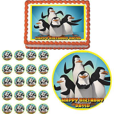 PENGUINS OF MADAGASCAR Edible Birthday Party Cake Topper Cupcake Image
