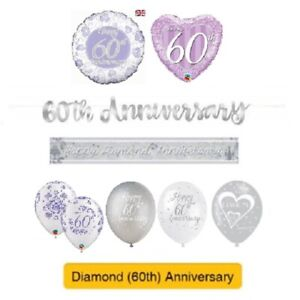 DIAMOND-60th-Wedding-ANNIVERSARY-Party-Banners-Balloons-amp-Decorations
