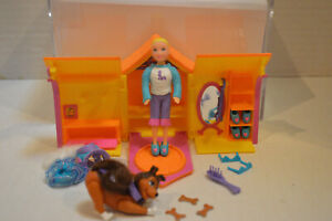 "Polly Pocket~3 1/2"" Doll~Dog Outfit~Happenin Pet Pals Folding Doghouse & Dog"