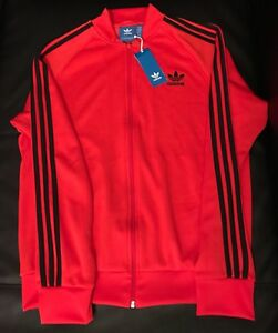 new concept 3226c 0ebd2 Details about adidas Superstar SST TT Red Black Corred Track Jacket Mens Sz  Large NEW! BK5918
