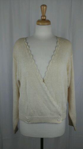 SK & Co Woman Cardigan Ivory Sweater Sz L