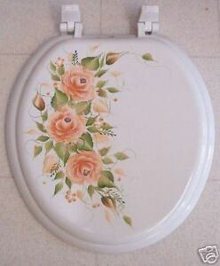 Surprising Details About Hand Painted Roses Toilet Seat Terra Cotta New Color Lamtechconsult Wood Chair Design Ideas Lamtechconsultcom