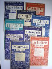 Lot de 9 anciennes partitions musicales illustrées par Noel Noel