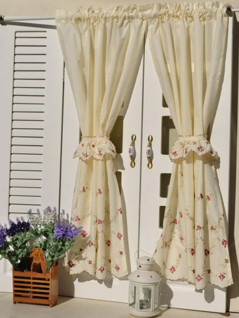 Delicate French Rose Flower Embroidered Cafe Kitchen Curtain