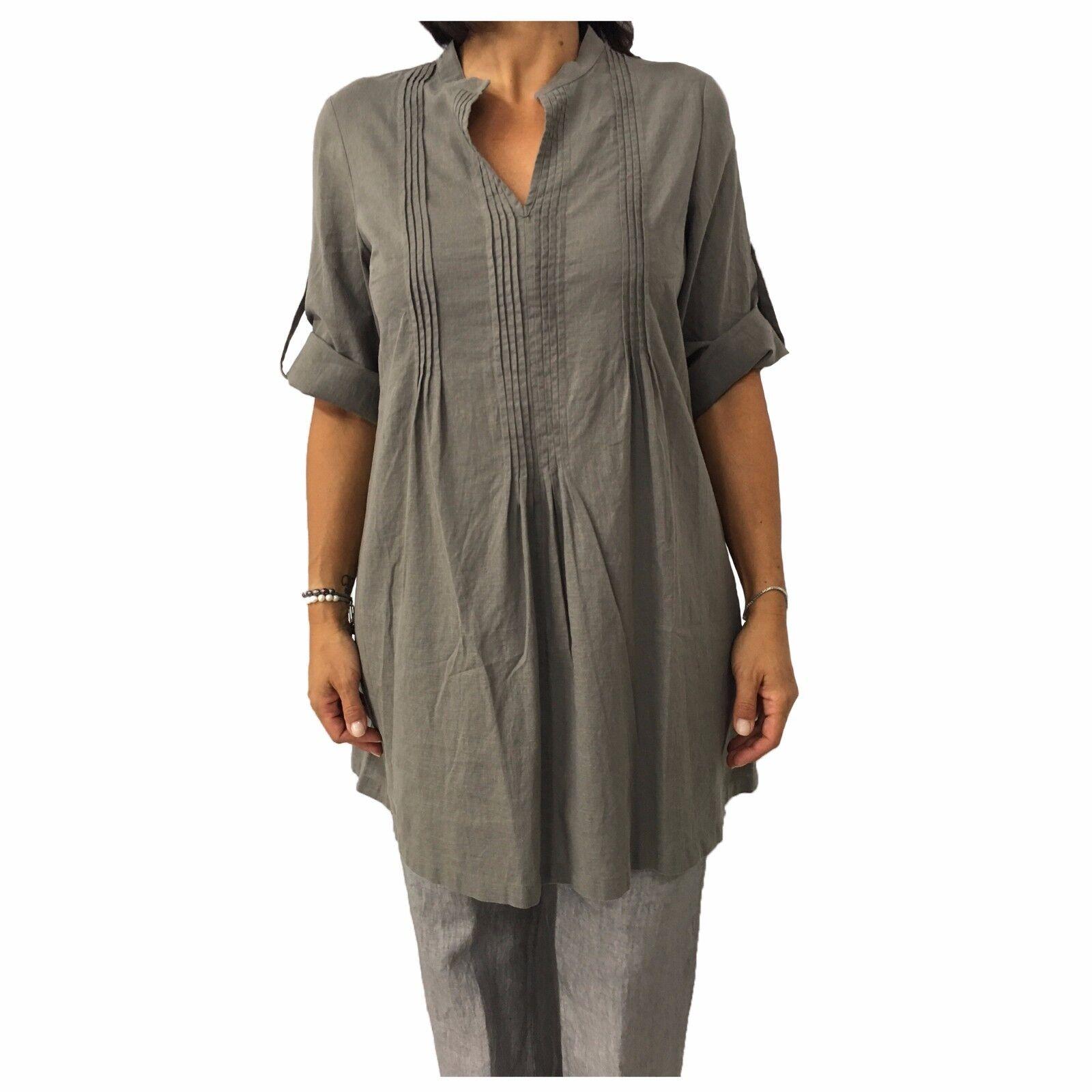 Damenhemd over taubengrau AND Material  52% Leinen 48% Baumwolle