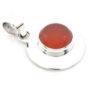 Karneol-Anhaenger-925-Silber-Sterlingsilber-Kettenanhaenger-Medaillon-orange-rot
