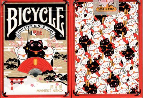 Maneki Neko Red Bicycle Playing Cards Poker Size Deck USPCC Custom Limited New