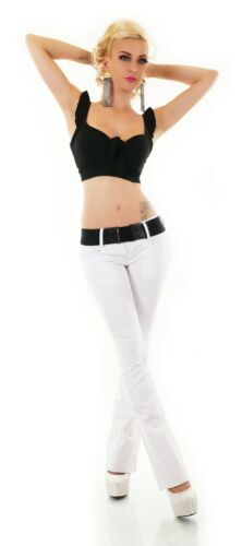 Damen Bootcut Schlag Jeans Hose weiß Denim Zipper Stretch Gürtel XS S M L XL