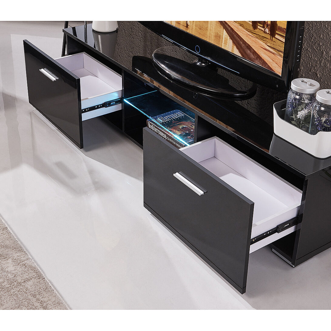 High Gloss TV Stand Unit Cabinet Console Furniturew/led Shelves 2 Drawers  Black | EBay
