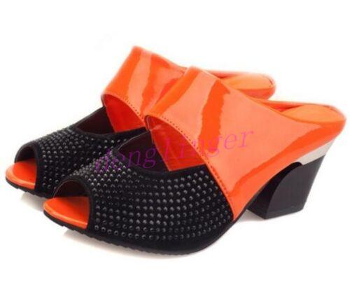 Womens Peep Toe Slipper Sandals Hollow Out Block High Heel Pumps Shoes Fashion