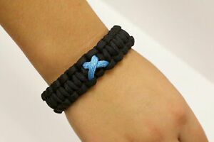 Paracause-Awareness-Ribbon-Paracord-Survival-Bracelet-Black-Aqua