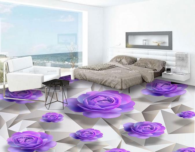 3D lila Flowers 42 Floor WallPaper Murals Wall Print 5D AJ WALLPAPER UK Lemon