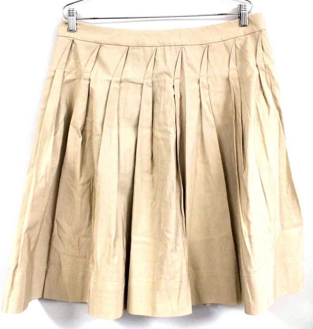 Talbots Petites Stretch Shadow Box Pleated Beige Knee Length Skirt 14P NWT  119