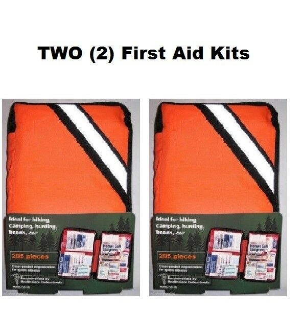(2) TWO  205 Piece Outdoor First Aid Kits hiking camping marine home auto boating  the best selection of